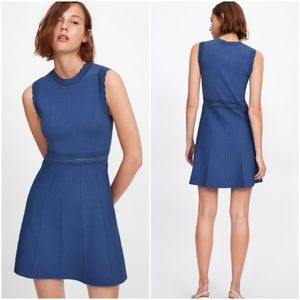 New Zara openwork scalloped knit dress